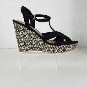 Shoes - Black Poppy Wedges Size 10